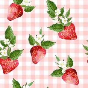 "6"" Strawberries Pink Gingham"