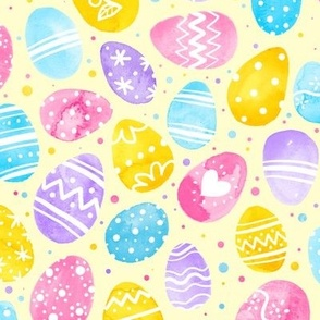 Watercolor Easter Eggs on Yellow 2X