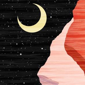 Moonlit Mountainscape - Black Sky - Vertical XL Scale