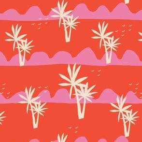 Classic Blue Palm Trees