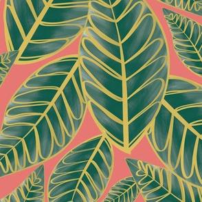 Island Palms - Pink Coral