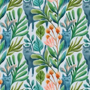 Watercolor cats, plants, flowers. Medium scale summer art.