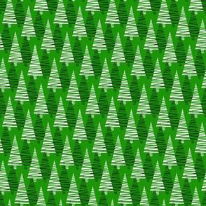 Scribble Christmas trees-green