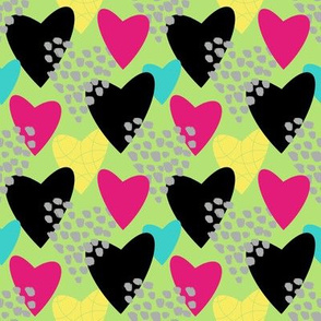 Scribble heart collage- green