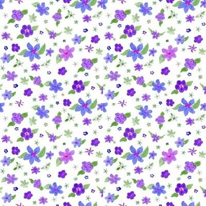 watercolor posies purples and blues on white