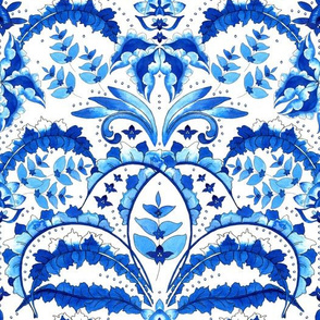 Openwork, watercolor, abstract leaves and flowers. Sky blue, blue on a white background
