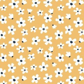Ditsy micro // Daisy garden Golden yellow and navy blue