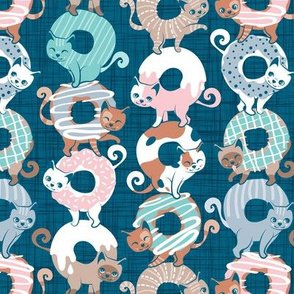 Small scale // Cats Donut Care // teal background with slight linen texture pastel pink, blue, mint and brown sweet kitties