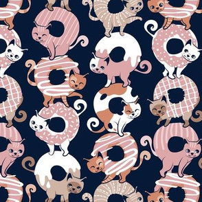 Small scale // Cats Donut Care // navy blue background blush pink and brown sweet kitties
