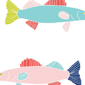 Walleye Fish in Coral, Teal and Navy