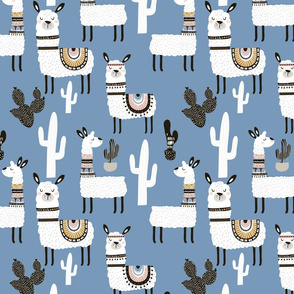 Llamas in Desert - BLUE