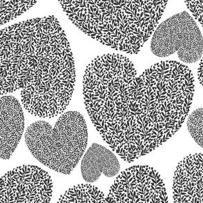 Floral heart-black