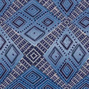 Ombre Blue Mud Cloth Inspired
