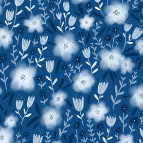Classic blue tones flower pattern