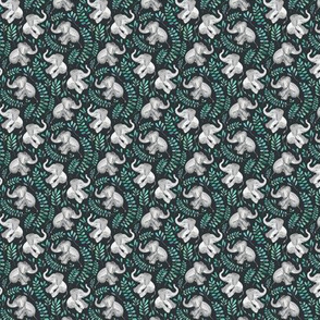 Extra Tiny Laughing Baby Elephants with Emerald and Turquoise leaves