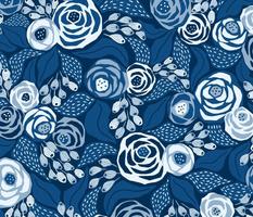 Classic blue papercut roses/large scale