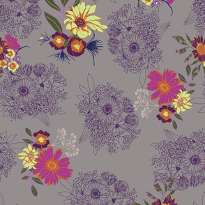 floral with linear bouquets on grey