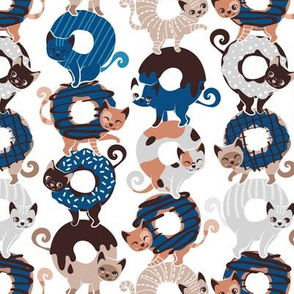 Small scale // Cats Donut Care // white background classic blue pantone color of the year and brown sweet kitties