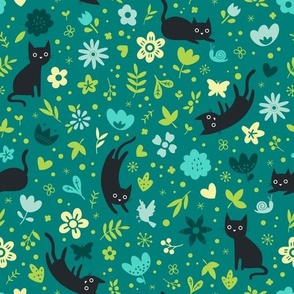 Cats frolicking in the garden - night - large scale