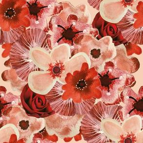 Ballerina Flowers Red Pink Medium