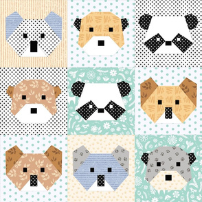 Origami Bears Cheater Quilt