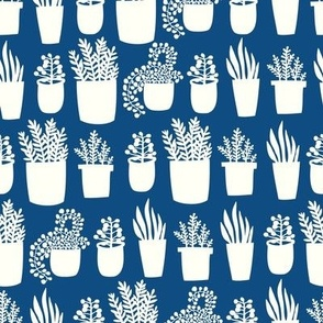 Houseplants - in classic blue - pantone color of the year
