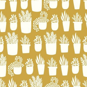Houseplants - in mustard yellow - small scale