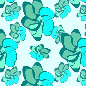 Colorful Cyan Flowers, Aquamarine & Turquoise