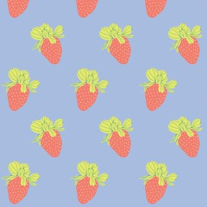 Periwinkle-Strawberries 2.6x3.6
