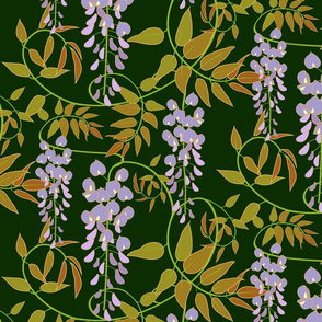Wisteria on Forest Green
