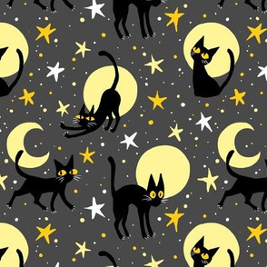 Moonlit Cats on Grey