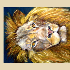 fat quarter panel lion chalk pastel original 4 panels per yard PSMGE