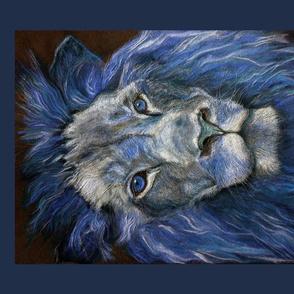 PANEL TEXTURED effect LION blue DRAWING FELINE PSMGE 4 PANELS PER FAT QUARTER