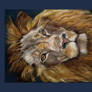 PANEL TEXTURED LION natural brown beige DRAWING FELINE PSMGE 4 PANELS PER FAT QUARTER