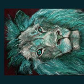 PANEL TEXTURED LION turquoise aqua teal DRAWING FELINE PSMGE 4 PANELS PER yard
