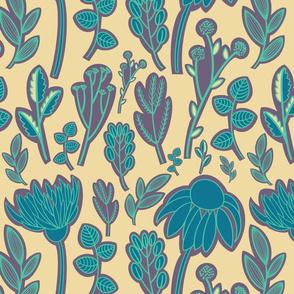 Blue flowers in sunlight