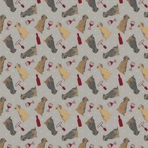 Tiny Border Terriers - wine
