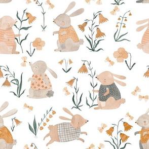 watercolor spring bunnies