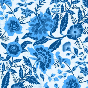 Vintage Botanical Chintz Filigree- Classic Blue Traditional Florals Palampore- Large Scale