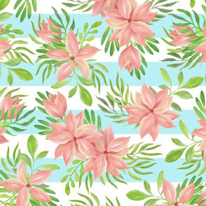 Tropical flowers on blue stripes
