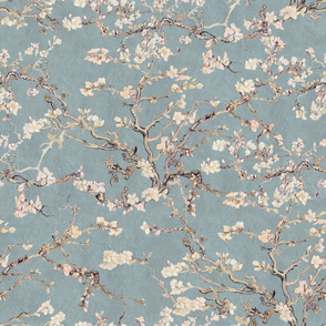 Vincent Van Gogh Almond Blossom in Slate Blue Sage Green Blush Pink