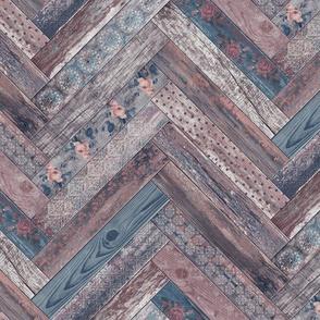 Vintage Wood Chevron Tiles Herringbone Mauve Denim