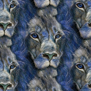 seamless coordinate TEXTURED LION blue DRAWING FELINE PSMGE