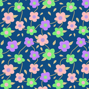 Floral Spring Delight! #2 Pastel colours on Classic Blue, large