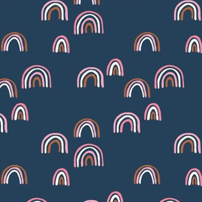 Rainbow sky and minimal dreamy retro night wish autumn winter navy blue pink