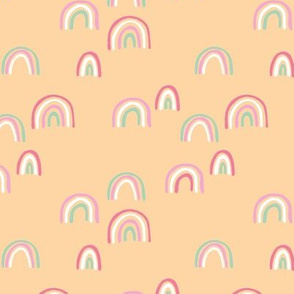 Rainbow sky and minimal dreamy retro night wish autumn winter nursery girls yellow pink
