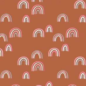 Rainbow sky and minimal dreamy retro night wish autumn winter nursery girls rust pink