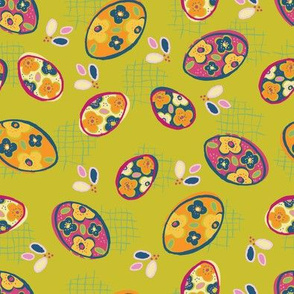 floral painted eggs on chartreuse