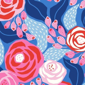 bright pink and blue roses/jumbo scale