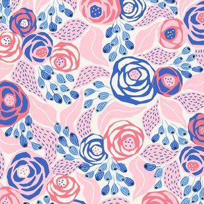 soft pink and blue roses/large scale
